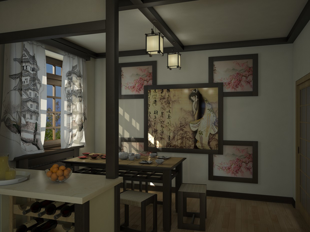 Japanese style kitchen design and visualization for Japanese traditional kitchen design