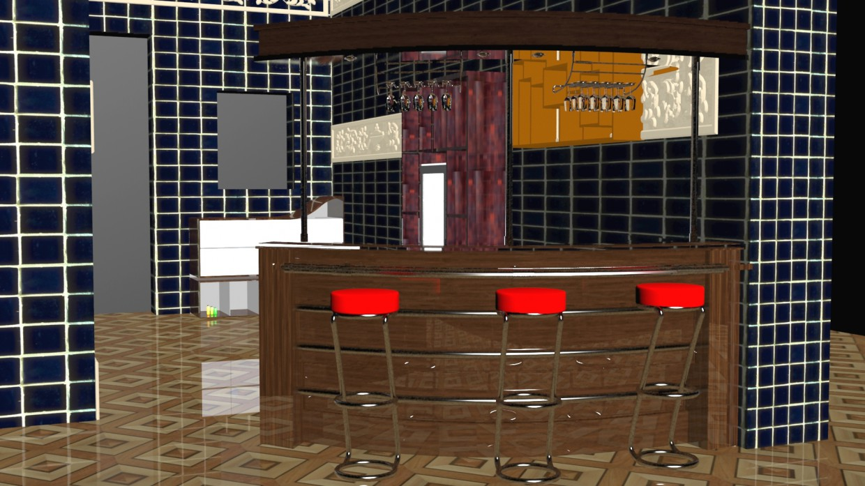 Bar counter in 3d max vray image