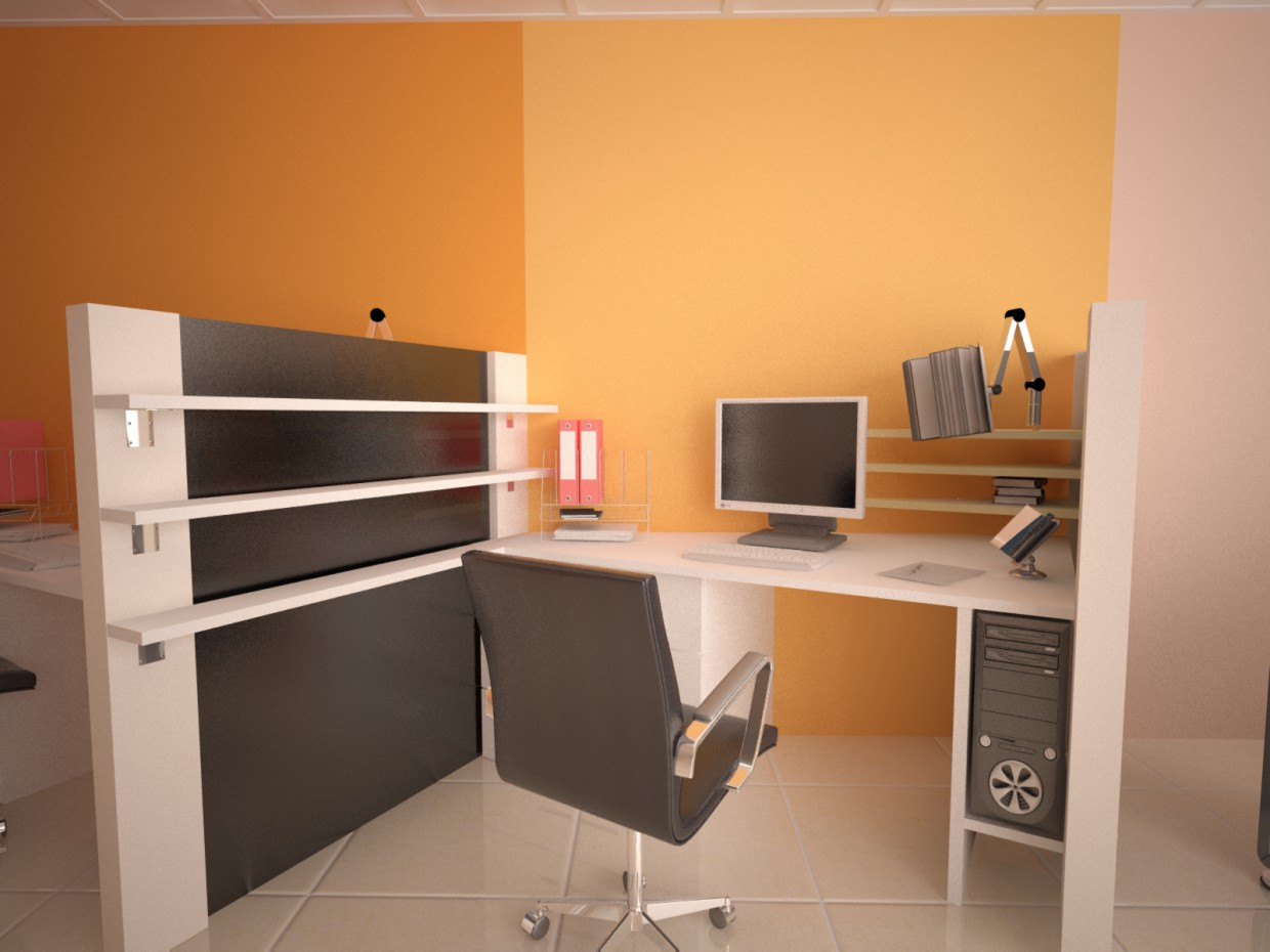 employee workplace in 3d max vray image