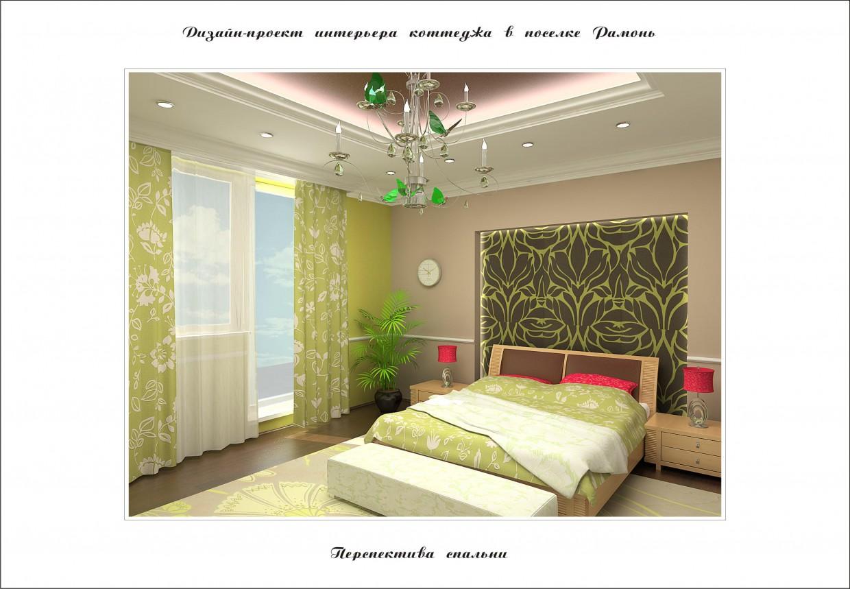 3d визуализация проекта Дизайн спальни в коттедже в 3d max, рендер vray от Полина Ходина