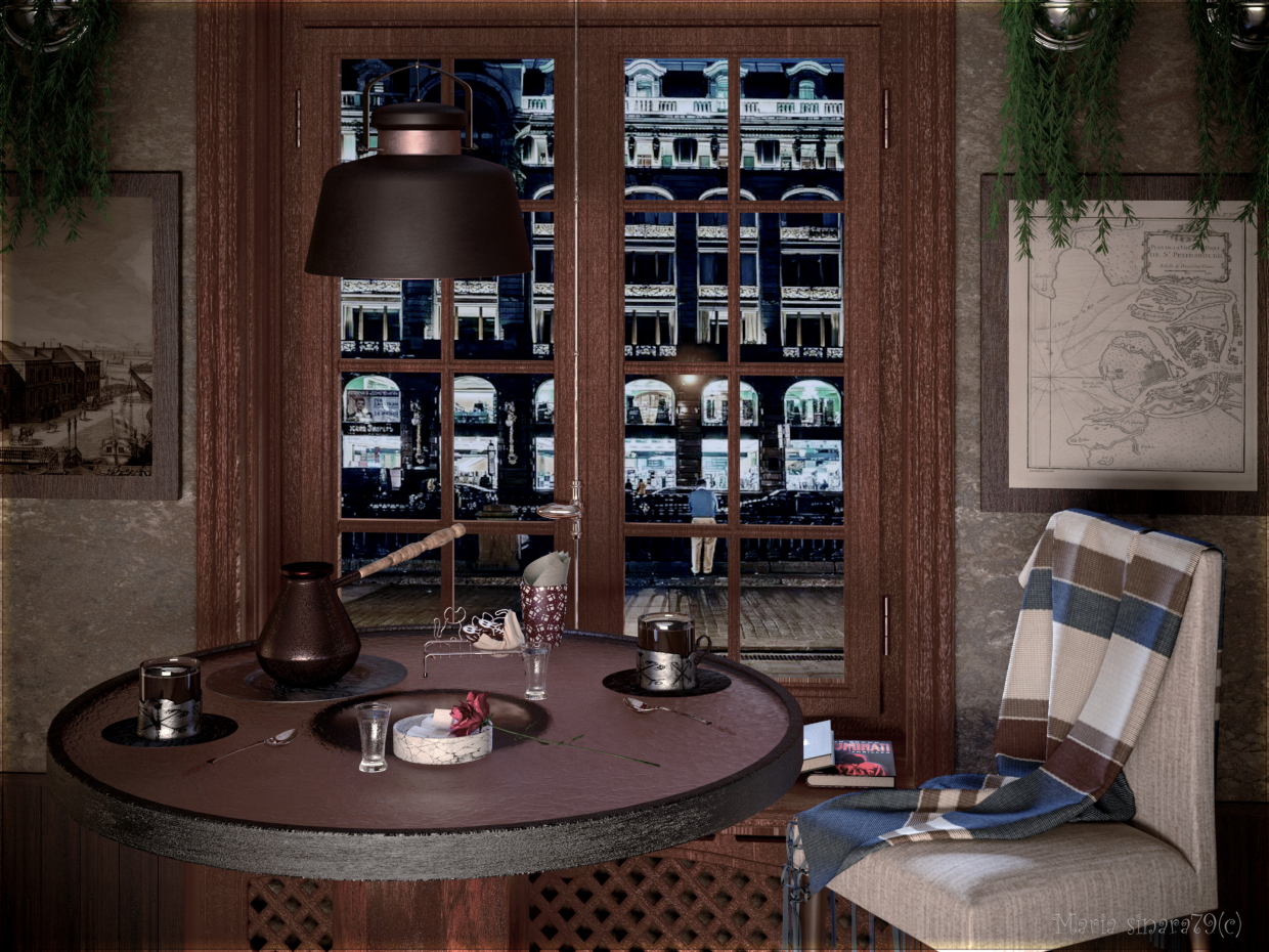 A table in a cafe in 3d max corona render image