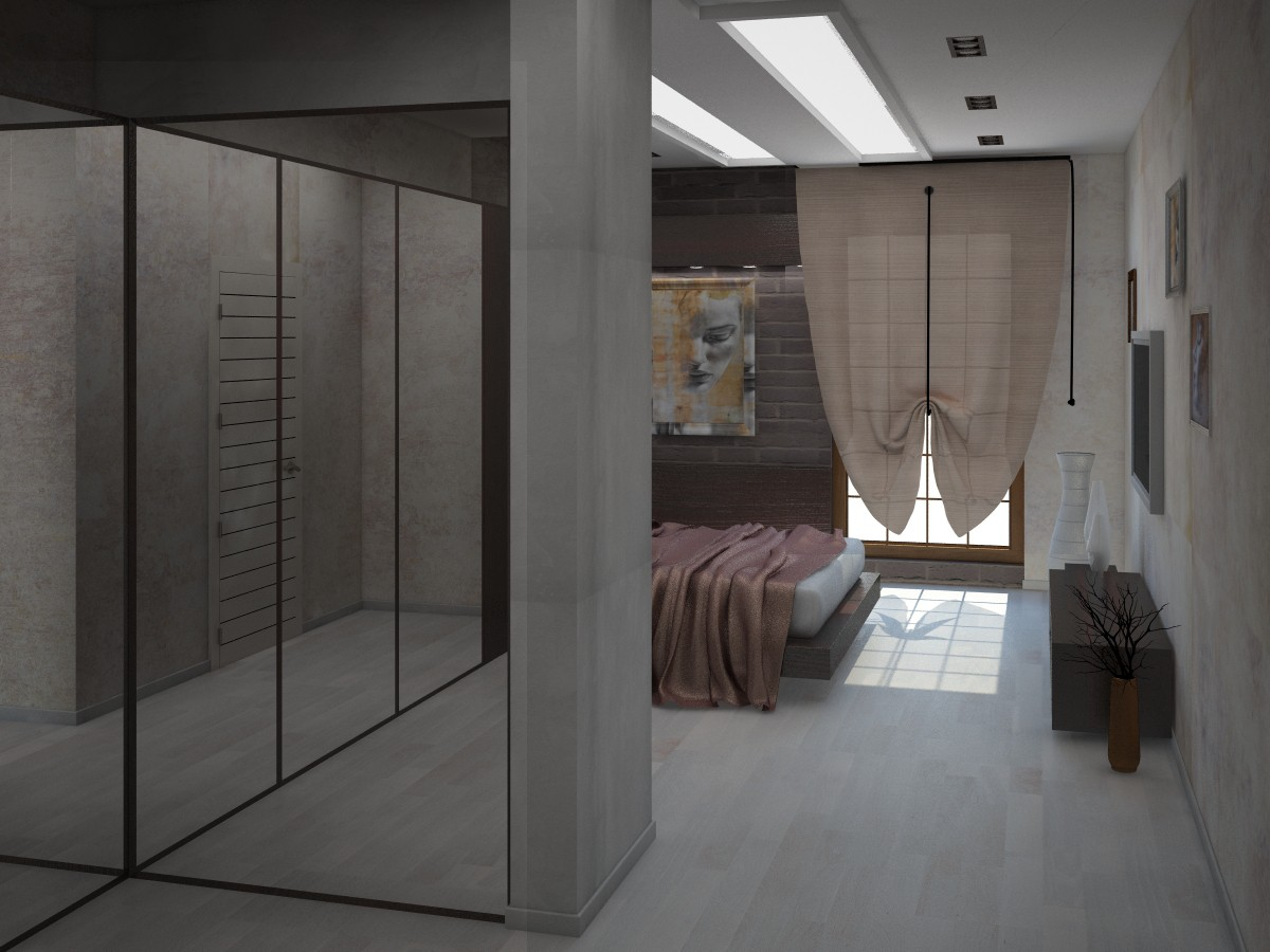 Bedroom + hall in 3d max vray image