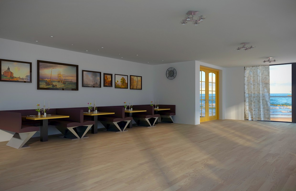 The Interior of the cafe-bar in 3d max vray image