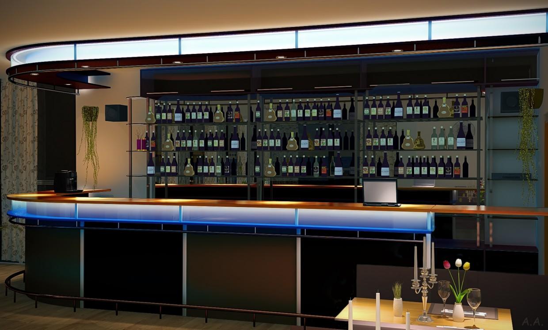 Интерьер кафе-бара в 3d max vray изображение