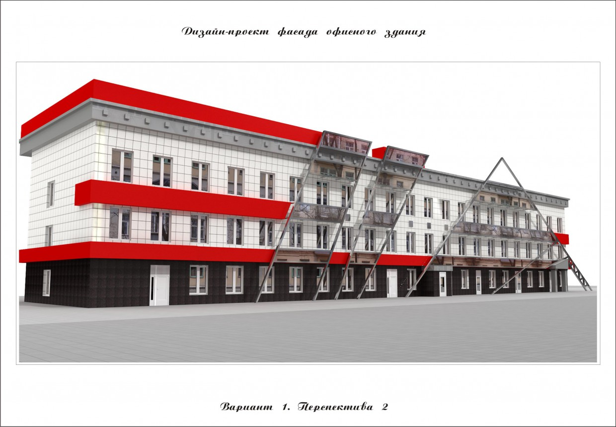 Facade reconstruction in 3d max vray image