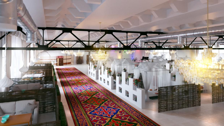 Restaurant somewhere in Kazakhstan in 3d max corona render image