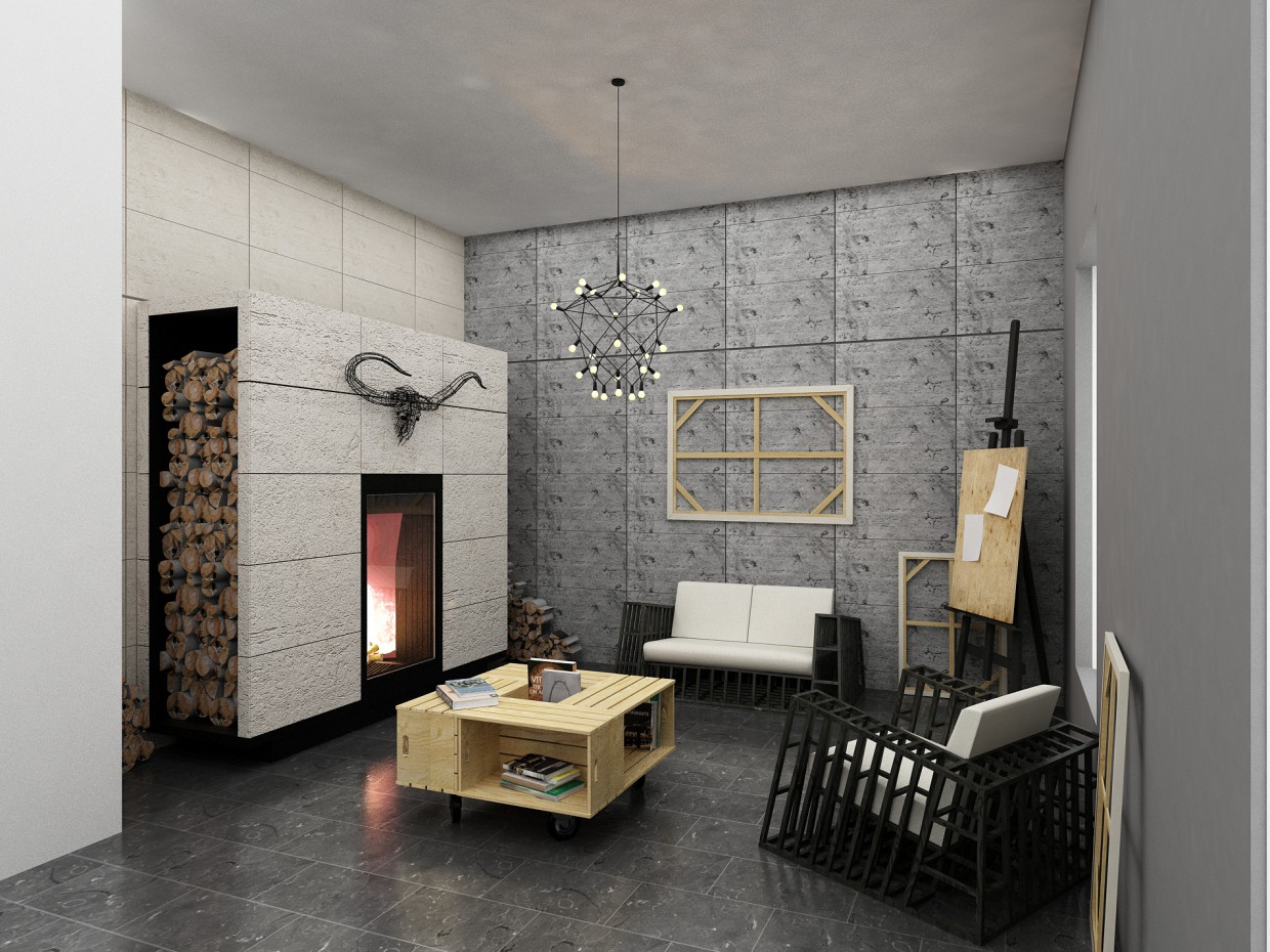 Furniture showroom in 3d max vray image