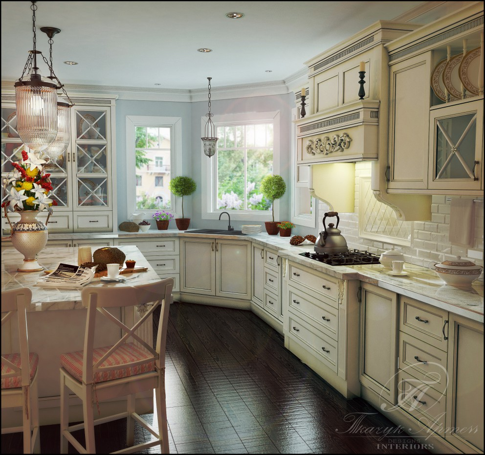 3d visualization of the project in the Kitchenette 3d max, render vray of art23051988