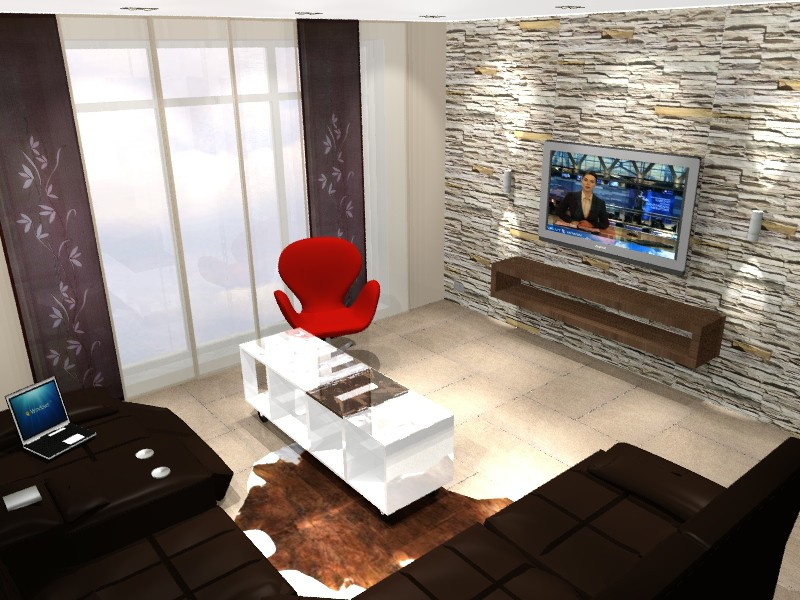 Living room in a house in 3d max vray image