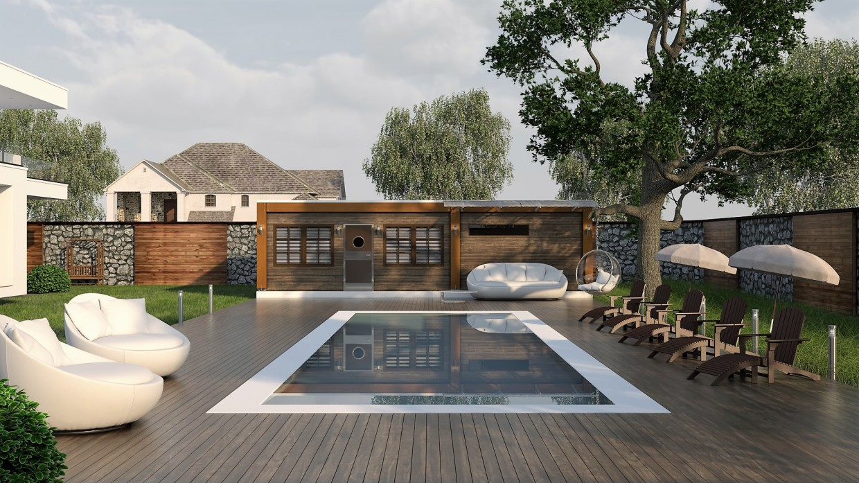 Sauna with a swimming pool in the yard in 3d max vray 3.0 image