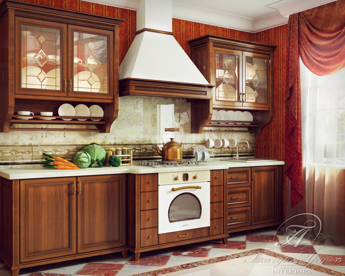 Classic kitchen in 3d max vray image