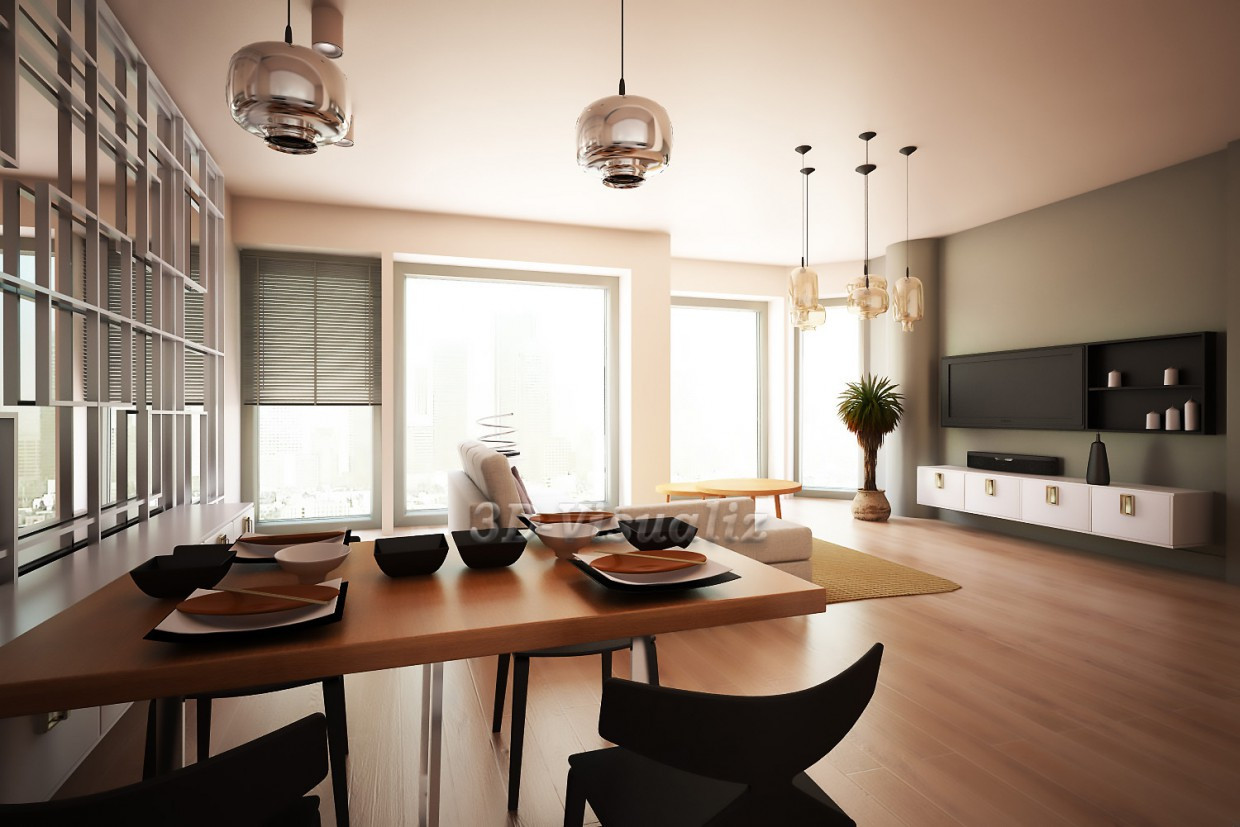 Living in a minimalist style in 3d max vray image