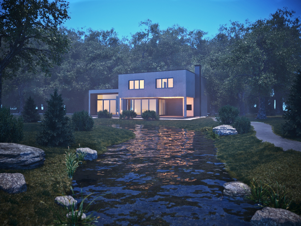 House by the river in 3d max corona render image