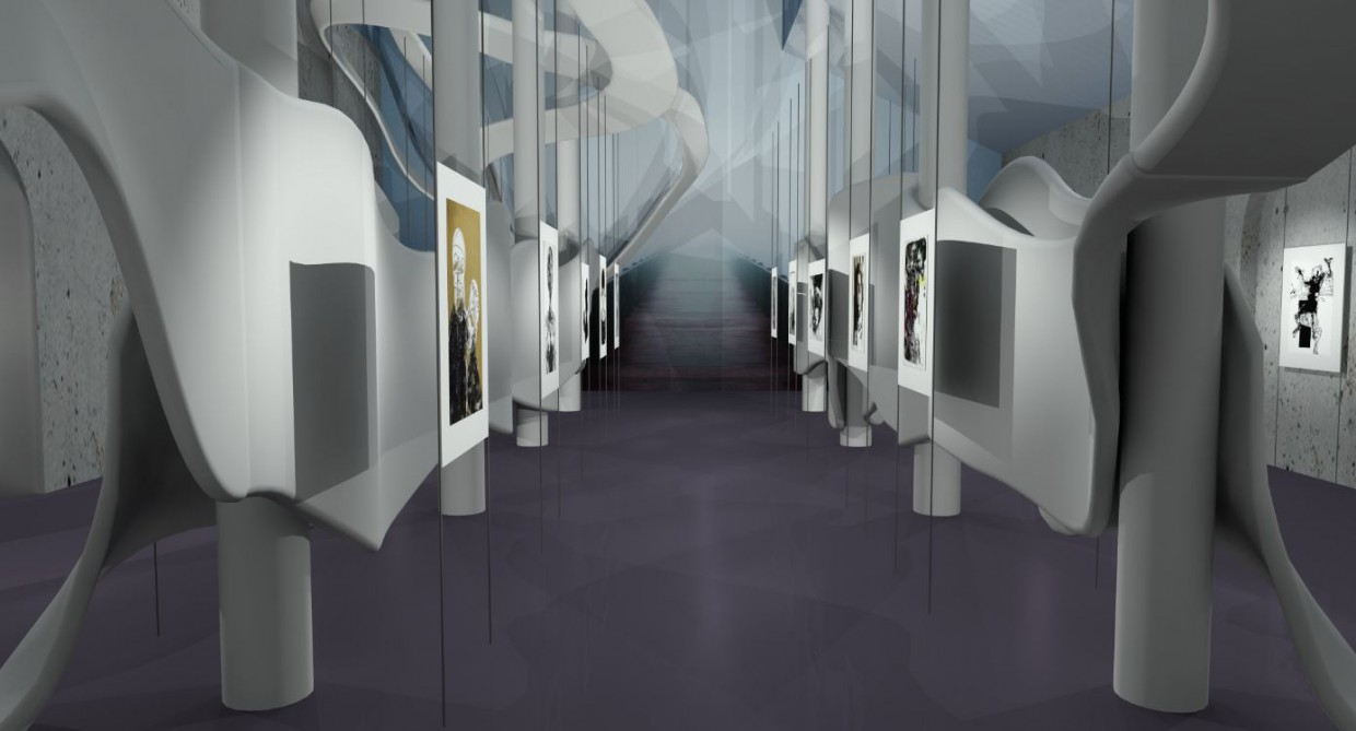 Museum-Gallery  in  3d max   mental ray  image