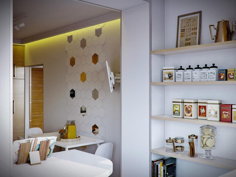 imagen de Habitación + cocina (Borispol) en 3d max corona render