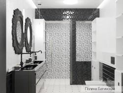 काले और सफेद बाथरूम