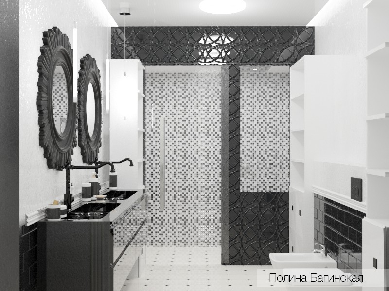 Black and white bathroom in 3d max vray image
