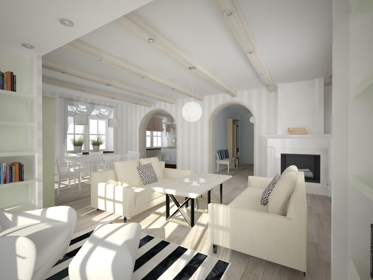 3d visualization of the project in the Scandinavian style interior 3d max, render vray of ohtoput