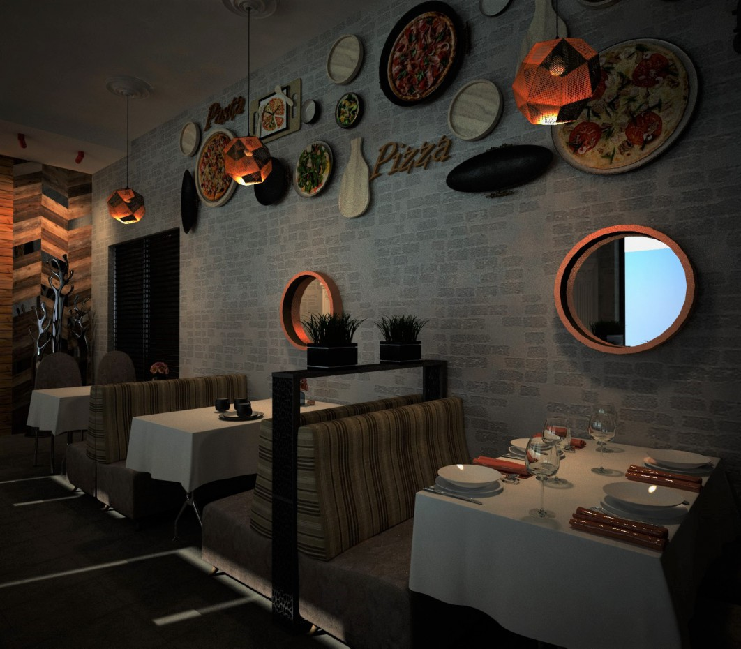 Cafe-pizzeria in 3d max vray 2.0 image