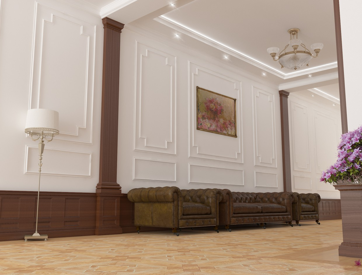 3d visualization of the project in the corridor 3d max, render vray of pervin