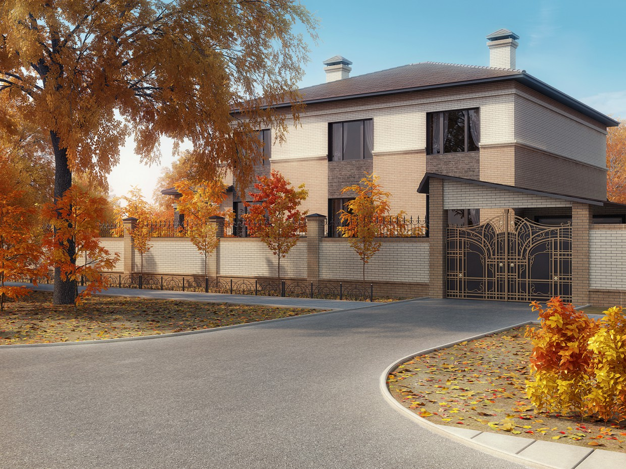 A project of a private house in 3d max vray image