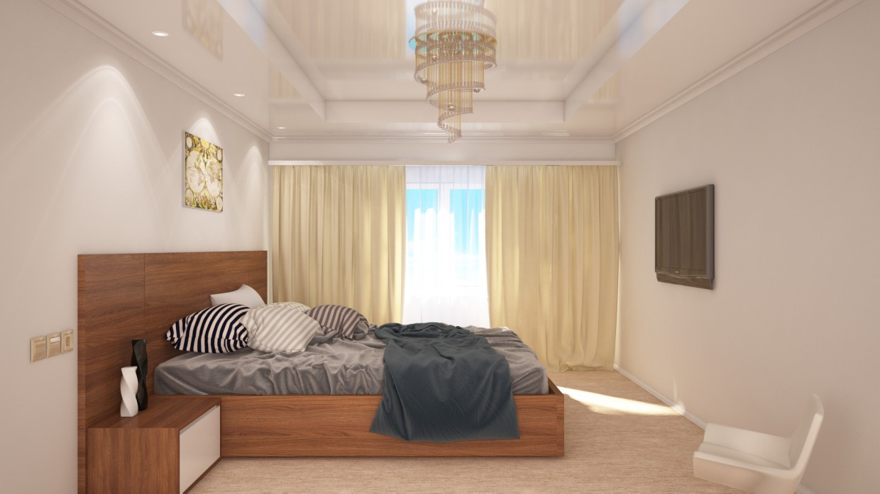 3d visualization of the project in the bedroom 3d max, render vray of simons