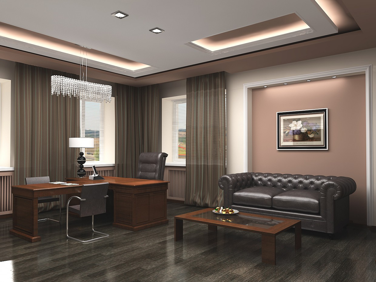 Luxury office room in 3d max vray image