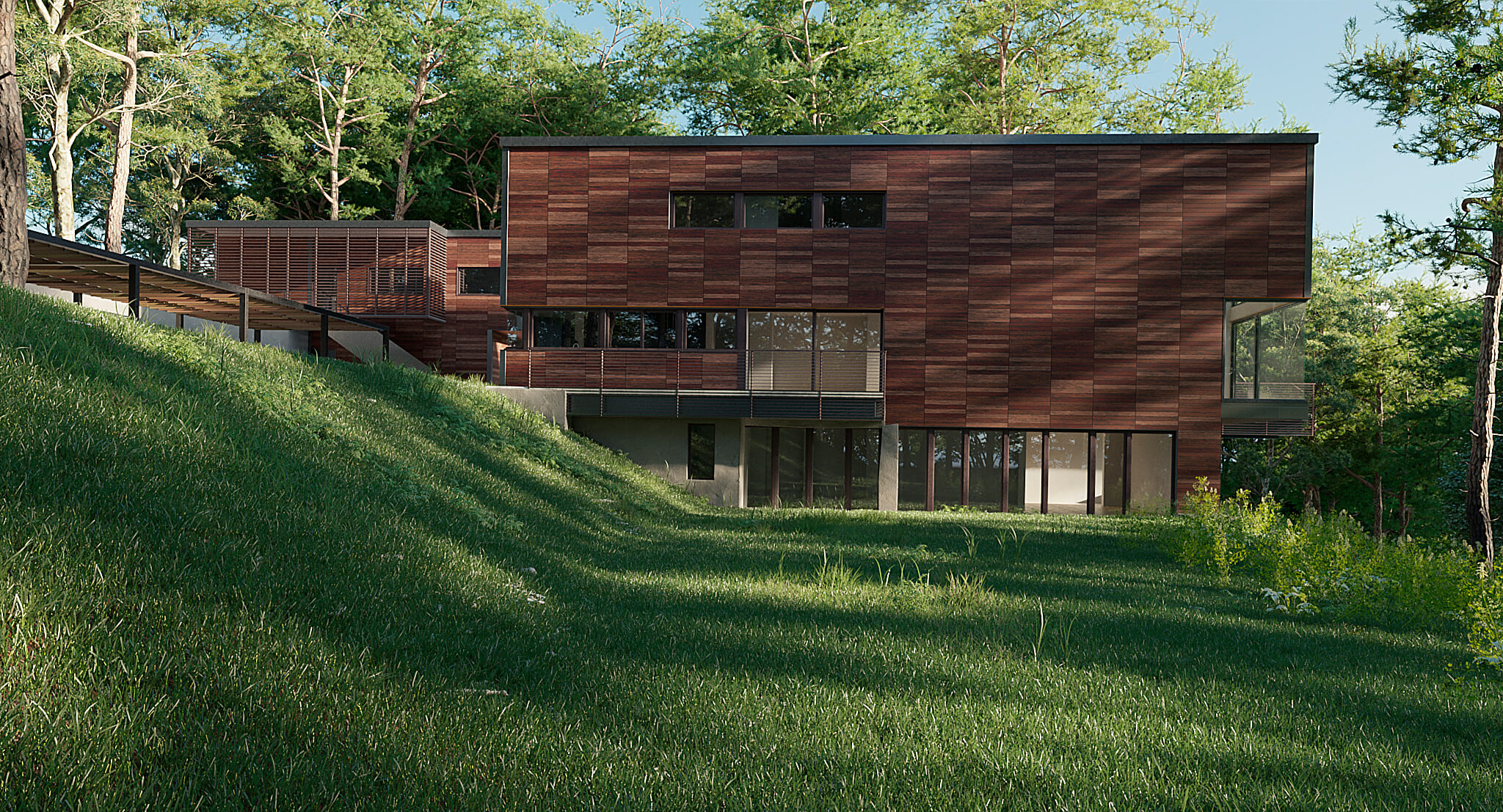 Red rock house in 3d max corona render image