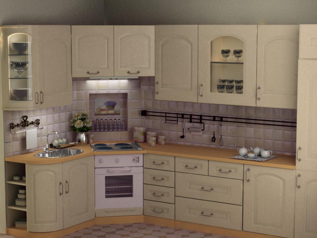 3d визуализация проекта Кухня в стиле прованс в 3d max, рендер vray от Иванова Марина