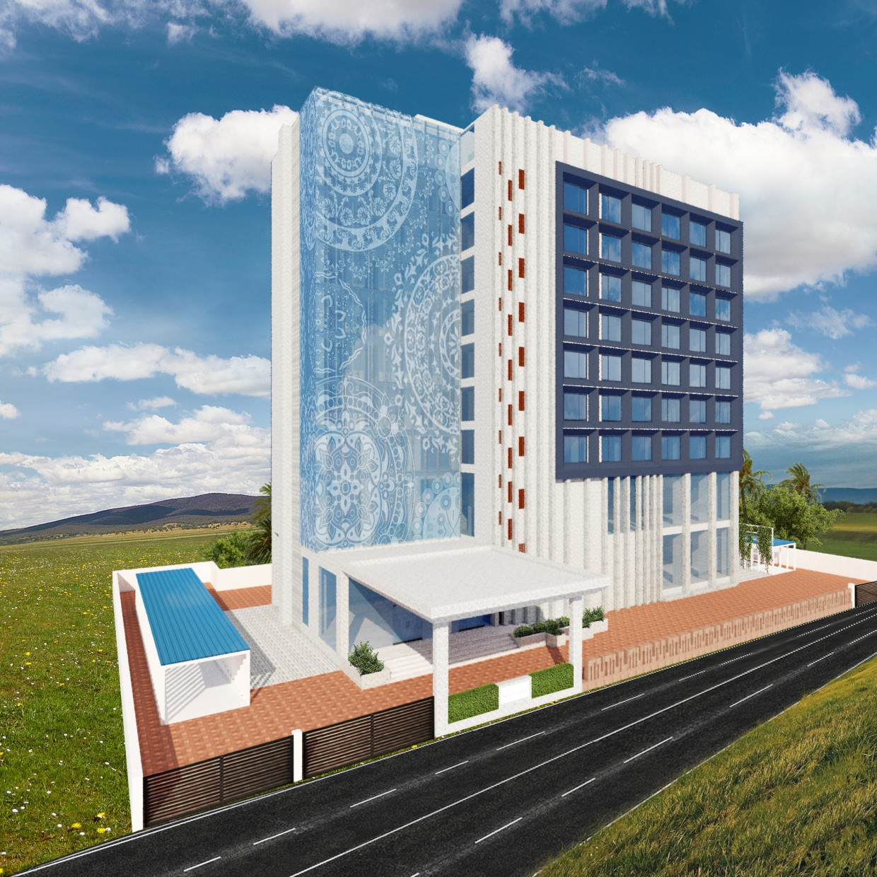 Exterior View with traditional pattern at glass facade. in SketchUp vray 3.0 image