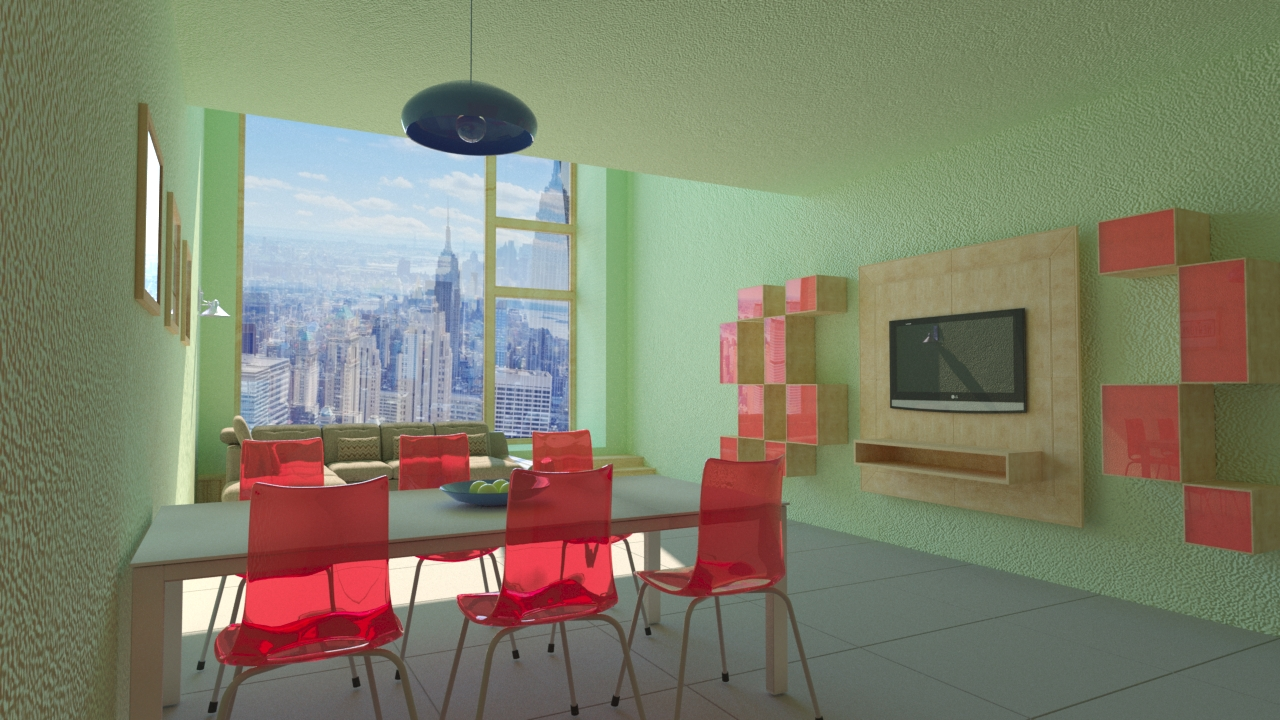Interior of an apartment in New York in 3d max corona render image