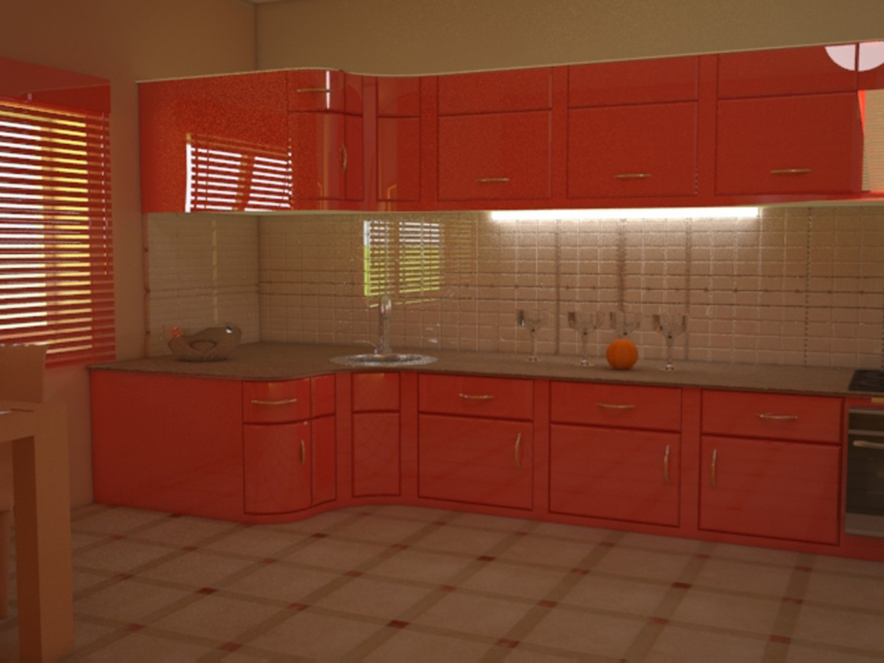 bedroom, kitchen in 3d max vray image