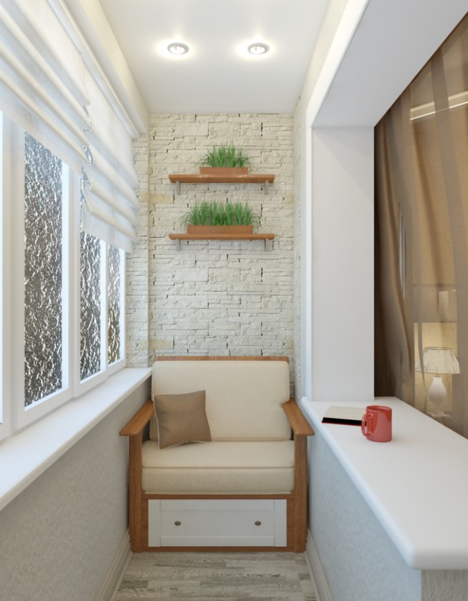 3d visualization of the project in the balcony 3d max, render vray of belajapushistaja
