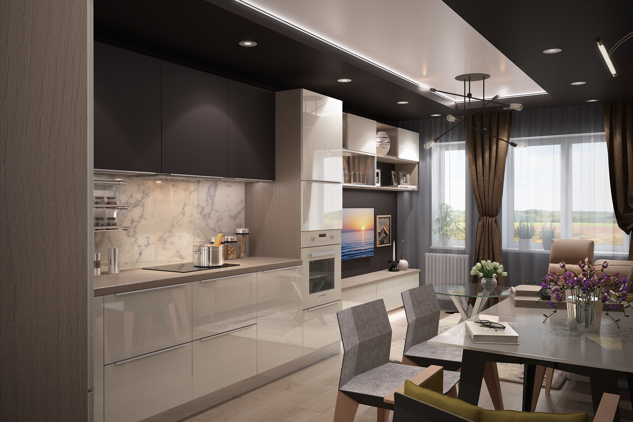 Kitchen and living room in 3d max vray 3.0 image