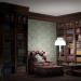 home library in 3d max mental ray image