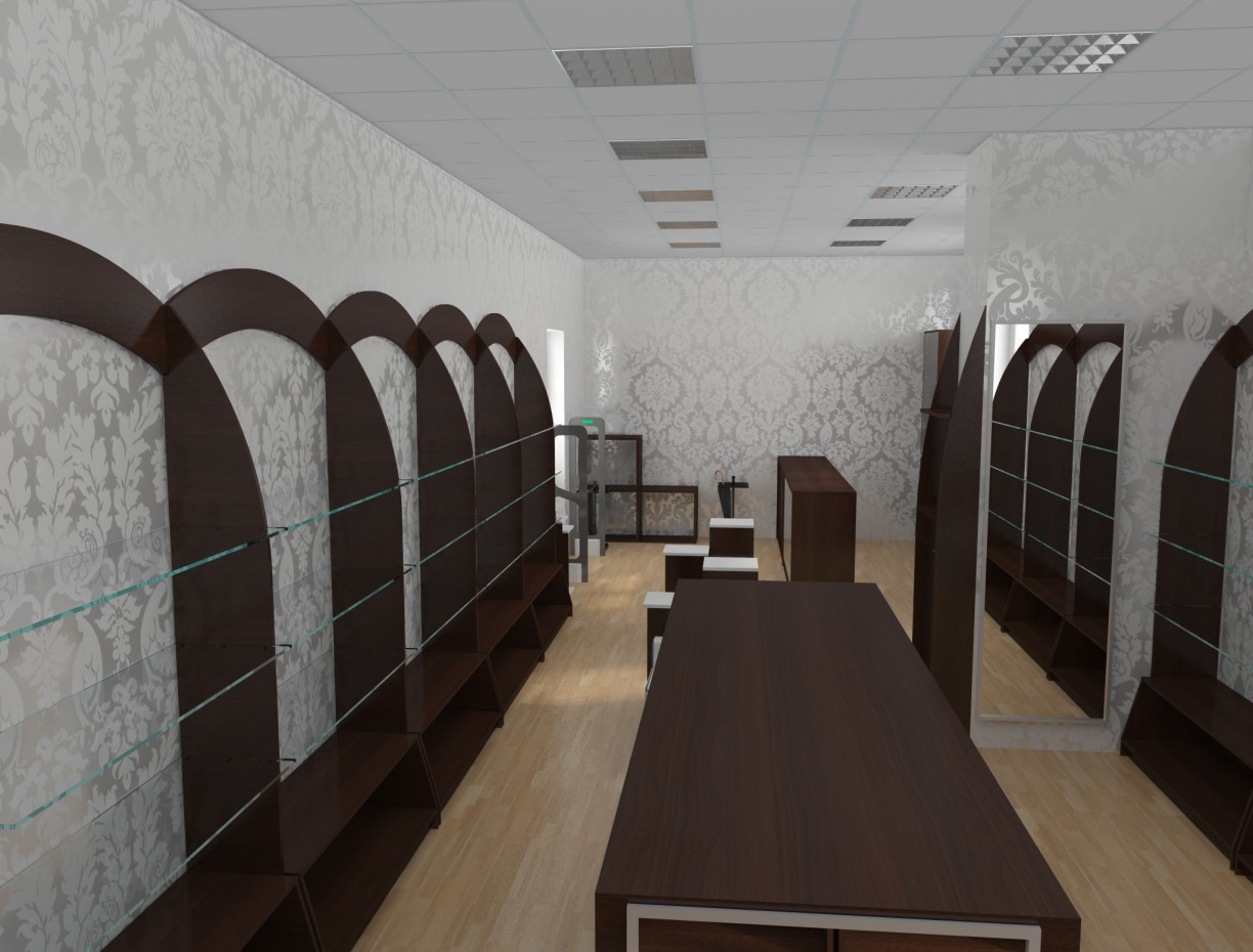 Shoes shop in 3d max vray image