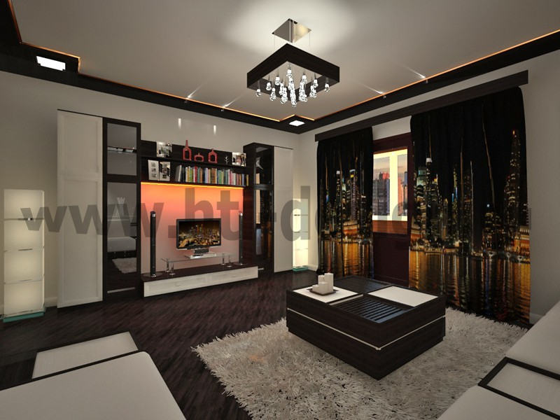 Living room with photo curtains in 3d max vray image