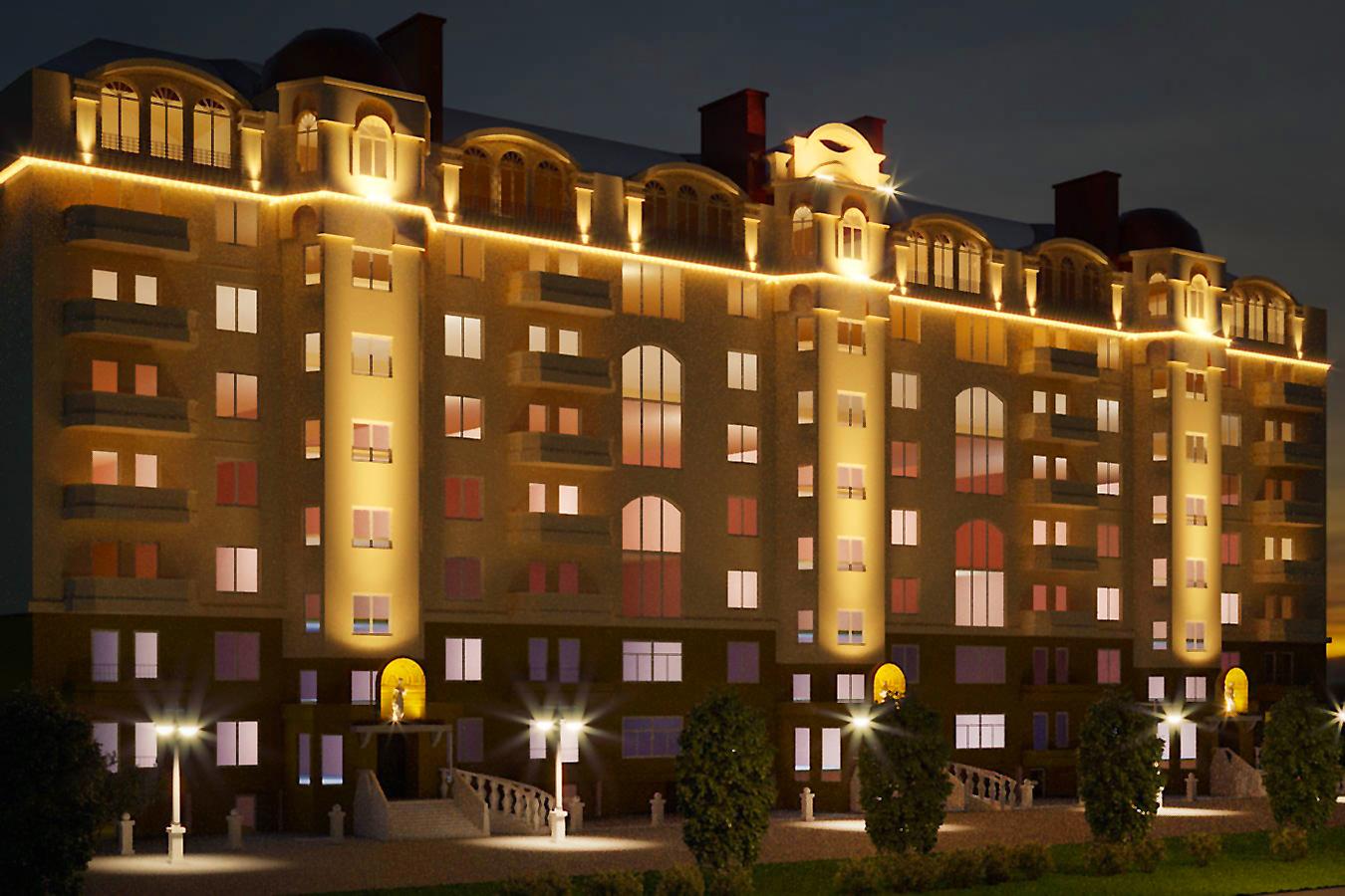 Light scheme for building in 3d max corona render image