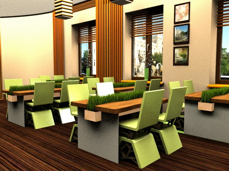 Spring time cafe  in  3d max   vray  image