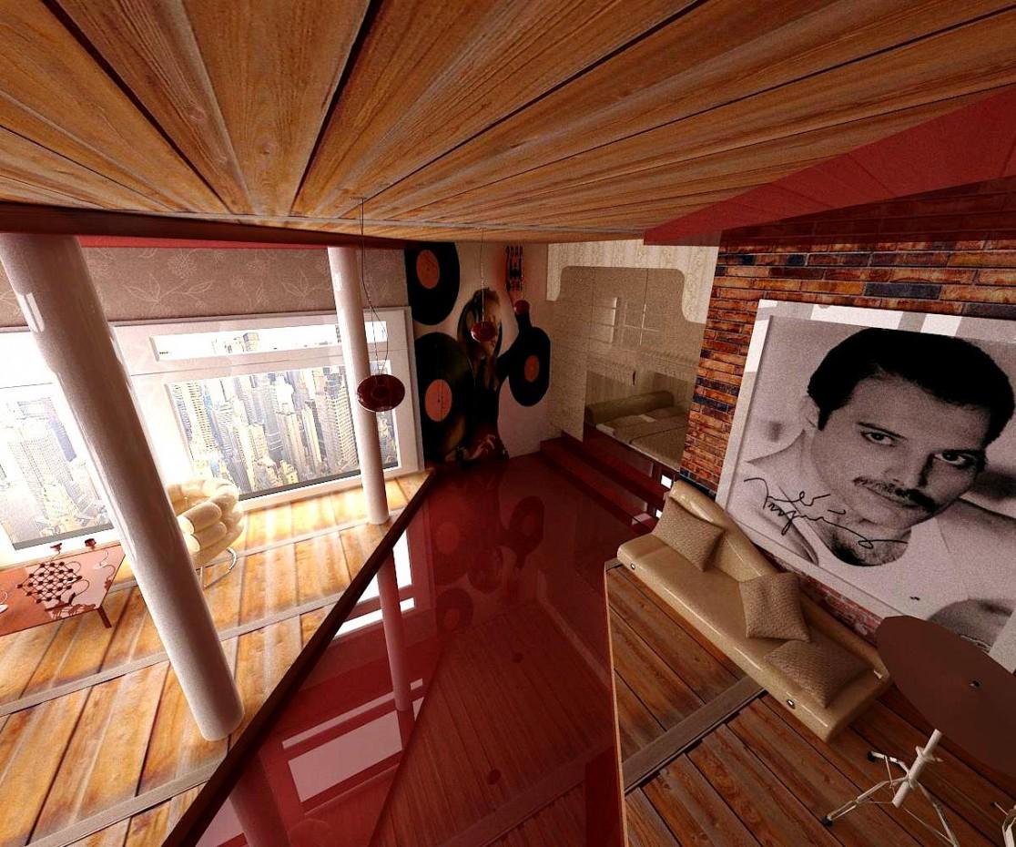 Комната музыканта в 3d max vray изображение