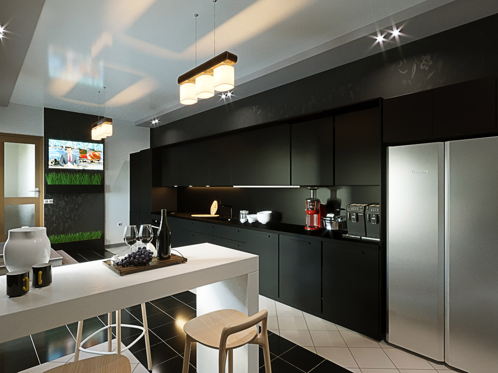 Kitchen in a private house in ArchiCAD corona render image