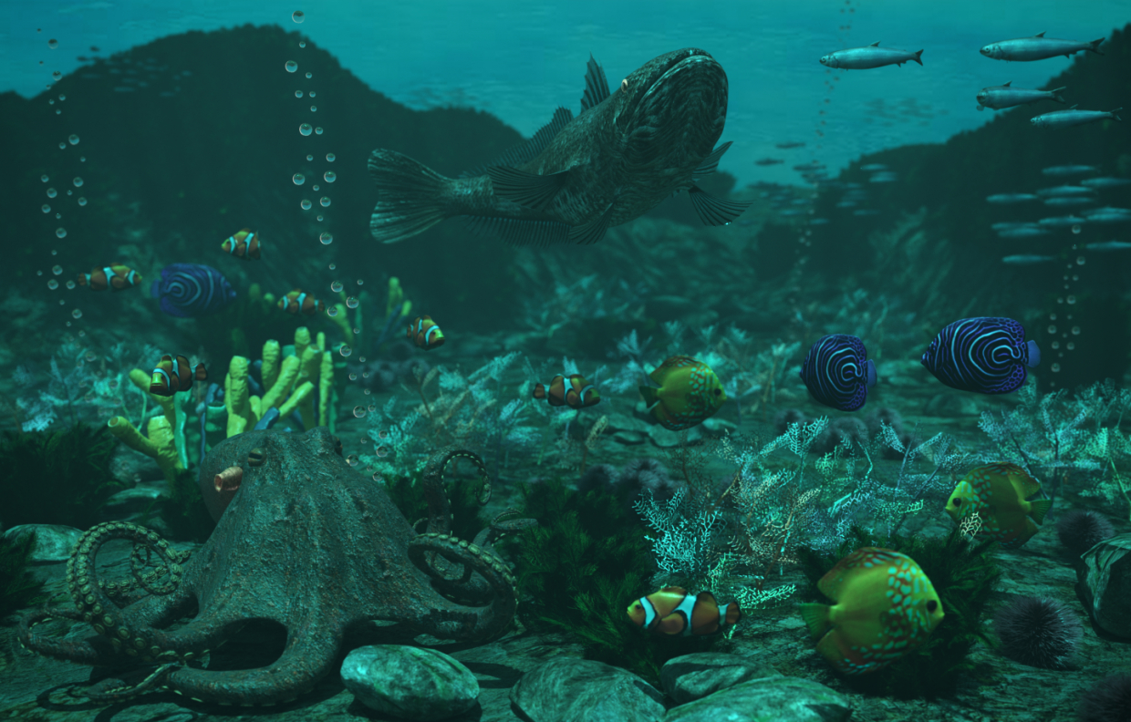 Undersea world in 3d max corona render image