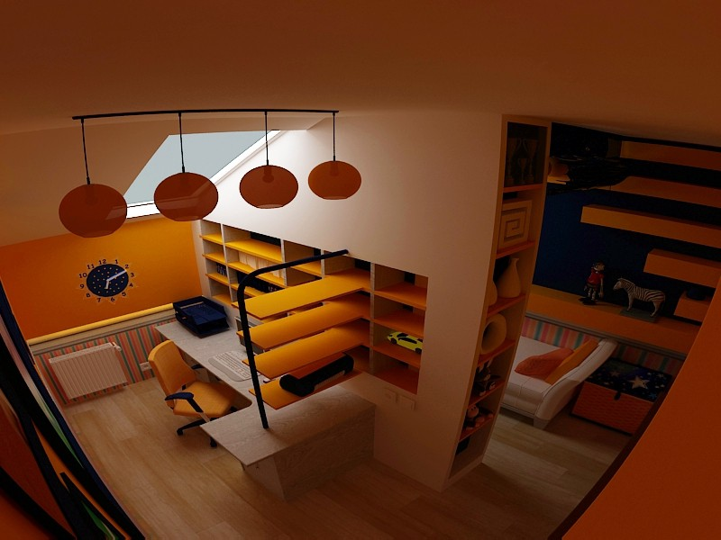 Bedroom for boy in 3d max vray image