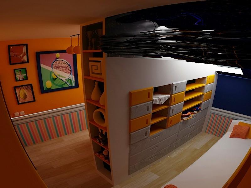 imagen de Dormitorio para niño en 3d max vray