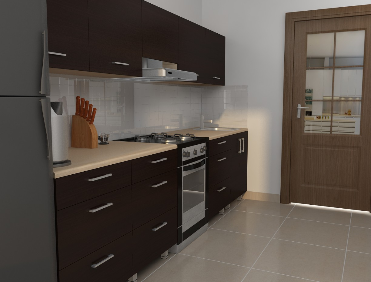 3d visualization of the project in the Kitchen 3d max, render vray of dell_master