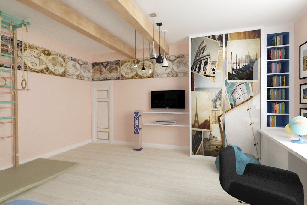 Children's room for a boy in 3d max vray image
