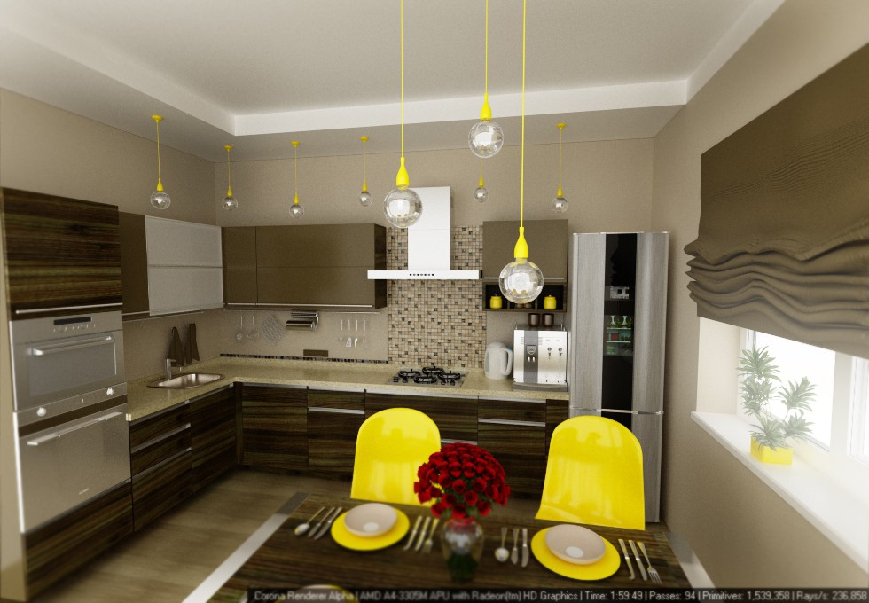 Kitchen in baraulyany in 3d max corona render image