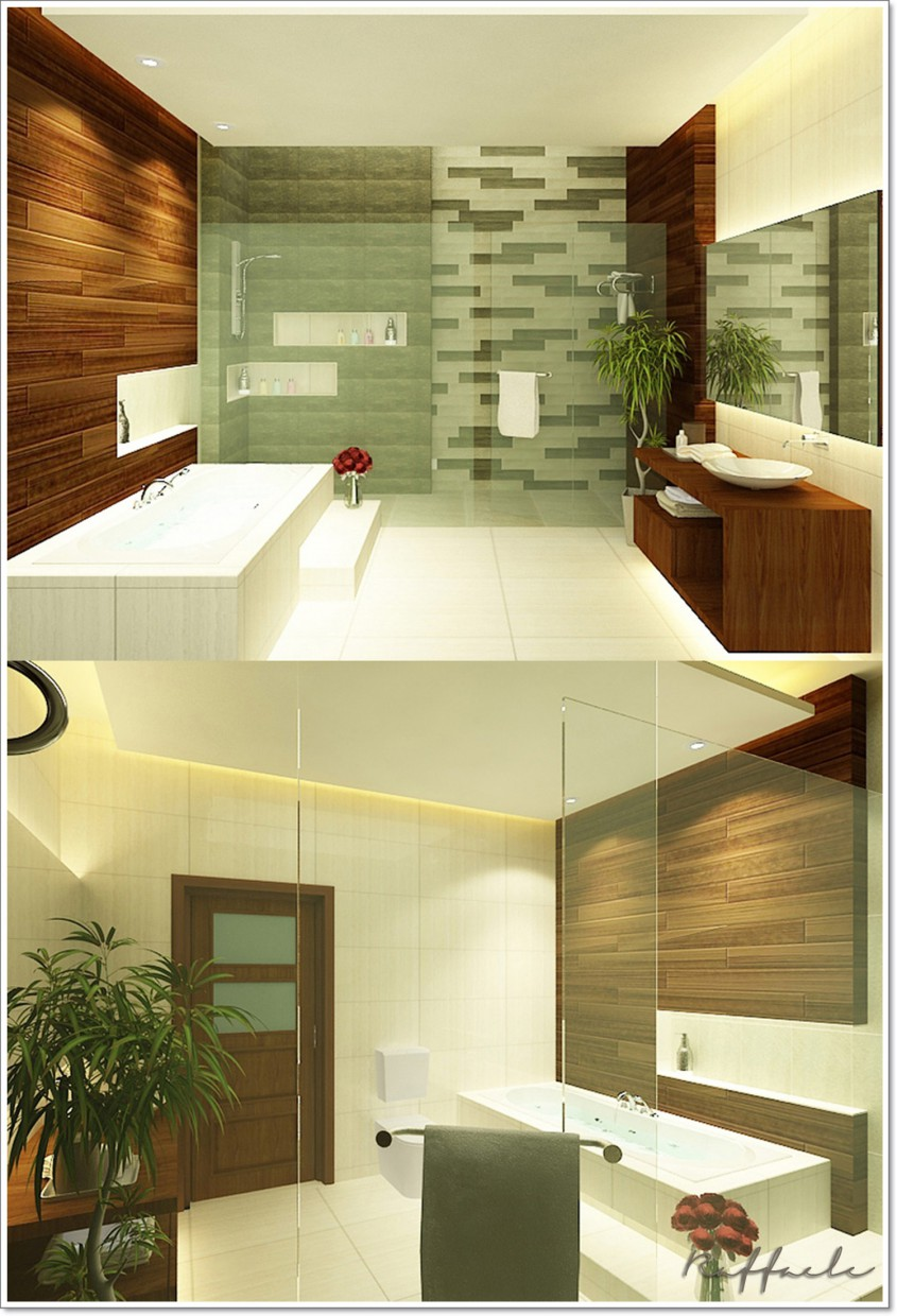 Tropical Bathroom in 3d max vray image