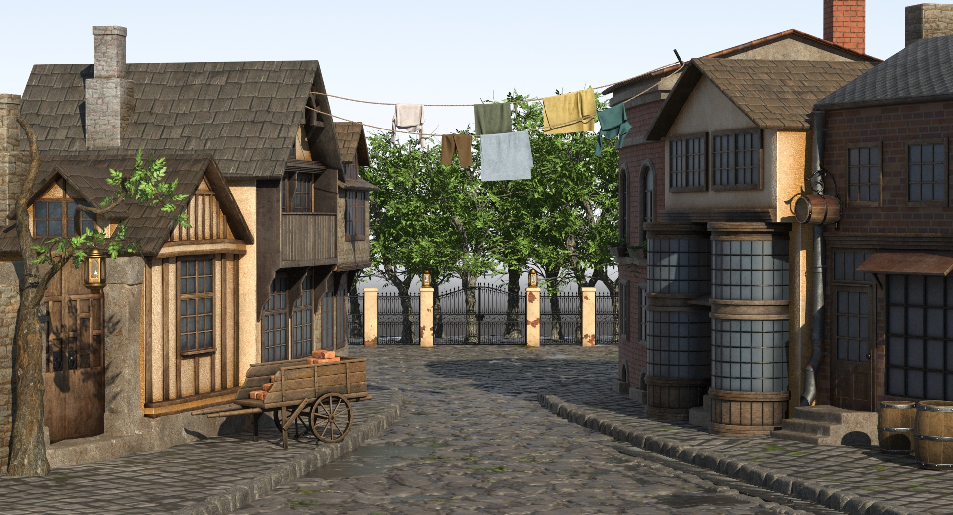 Cartoon Street in 3d max vray 3.0 image