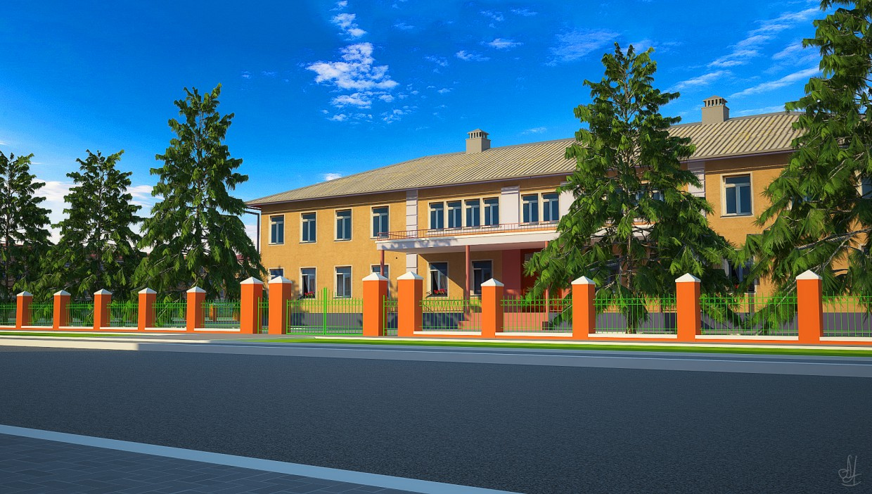 Kemerovo, ul. Spring, 80 years  in  3d max   vray  image